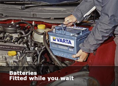 Batteries fitted while you wait at Goldenhill Garage