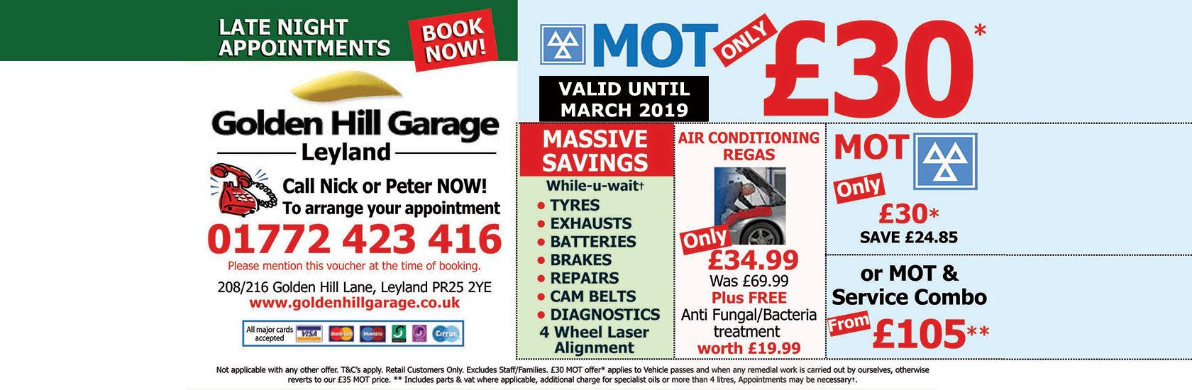 Golden Hill Garage Service Offers